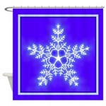 Purple and White Star Snowflake Shower Curtain