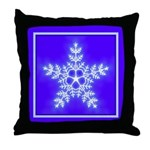 Purple and White Star Snowflake Throw Pillow