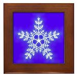 Purple and White Star Snowflake Framed Tile