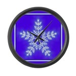 Purple and White Star Snowflake Large Wall Clock