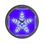 Purple and White Star Snowflake Wall Clock