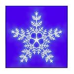 Purple and White Star Snowflake Tile Coaster