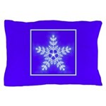 Purple and White Star Snowflake Pillow Case