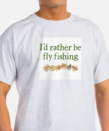 """""""I'd Rather Be Fly Fishing"""" Ash Grey T-Shirt"""