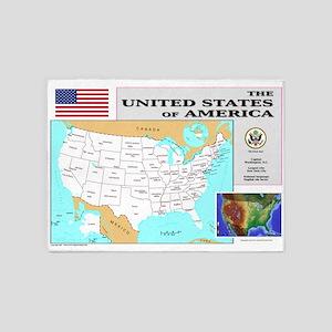 USA_Map-7000x4600-LP 5'x7'Area Rug