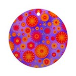 Orange Red and Purple Hippie Flower Pattern Orname