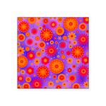 Orange Red and Purple Hippie Flower Pattern Square