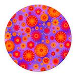 Orange Red and Purple Hippie Flower Pattern Round