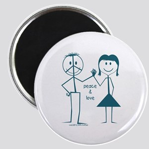 Peace and love smiley face stick figure Magnet