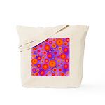 Orange Red and Purple Hippie Flower Pattern Tote B