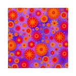 Orange Red and Purple Hippie Flower Pattern Queen