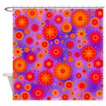 Orange Red and Purple Hippie Flower Pattern Shower