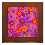 Orange Red and Purple Hippie Flower Pattern Framed