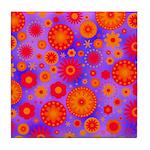 Orange Red and Purple Hippie Flower Pattern Tile C