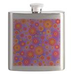 Orange Red and Purple Hippie Flower Pattern Flask
