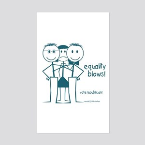 Equality BLows anti-Bush smiley face Sticker (Rect