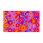 Orange Red and Purple Hippie Flower Pattern 35x21
