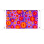 Orange Red and Purple Hippie Flower Pattern Banner