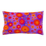 Orange Red and Purple Hippie Flower Pattern Pillow