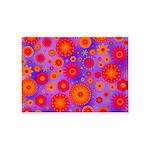 Orange Red and Purple Hippie Flower Pattern 5'x7'A