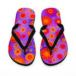 Orange Red and Purple Hippie Flower Pattern Flip F