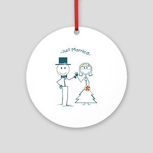 Just Married smiley face stickman couple Keepsake