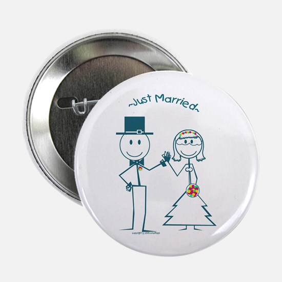 Just Married smiley face stickman couple Button