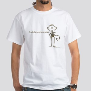 proud to be my woman's monkey smiley t-shirt