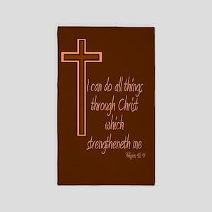 Philippians 4 13 Brown Cross 3'x5' Area Rug