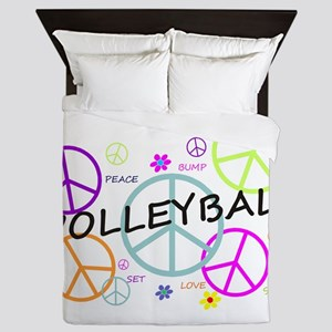 Volleyball Colored Peace Signs Queen Duvet