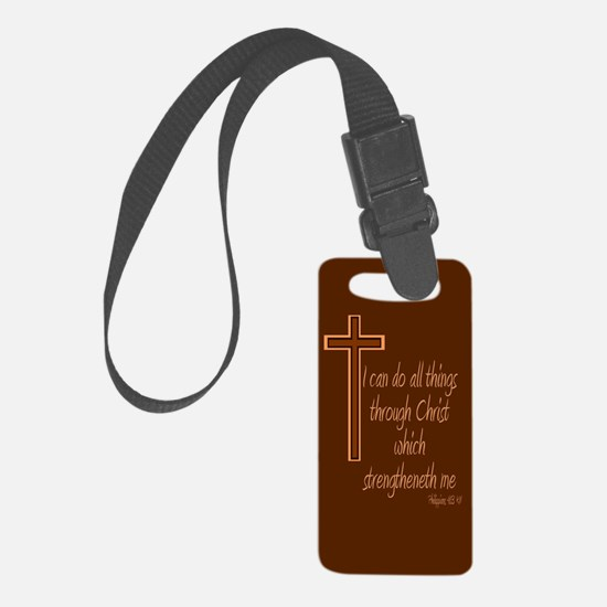 Philippians 4 13 Brown Cross Luggage Tag