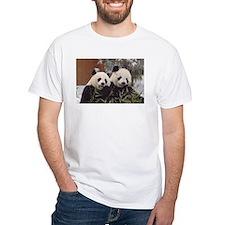 Pandas Eating White T-Shirt