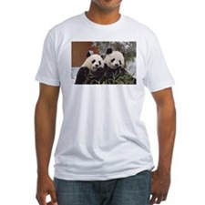 Pandas Eating Fitted T-Shirt