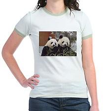 Pandas Eating Jr. Ringer T-Shirt