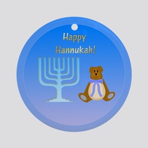 Happy Hannukah (bow bear) Ornament (Round)