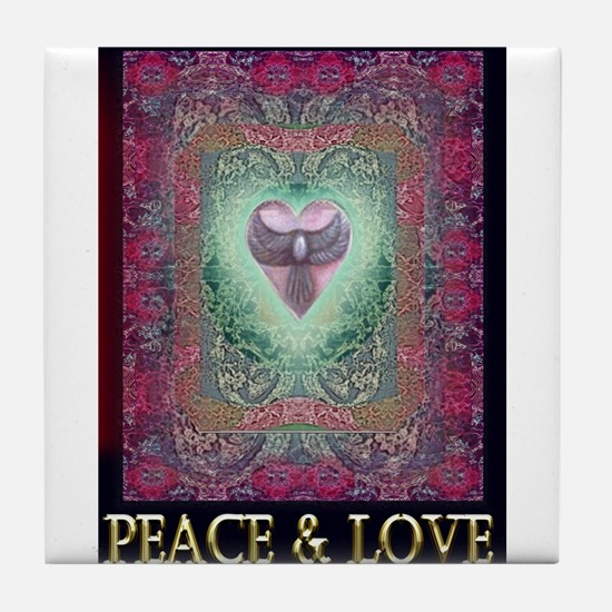 PEACE LOVE MANDALA Tile Coaster