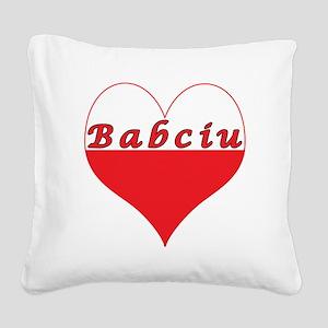 Babciu Polish Heart Square Canvas Pillow