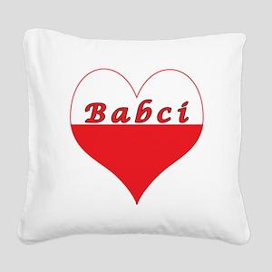 Babci Polish Heart Square Canvas Pillow