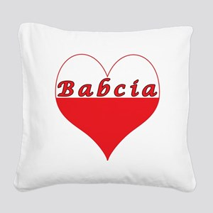 Babcia Polish Heart Square Canvas Pillow