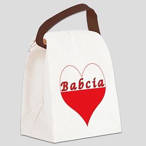 Babcia Polish Heart Canvas Lunch Bag