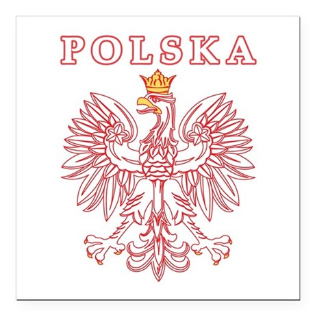"Polska Eagle Red Square Car Magnet 3"" x 3"""