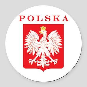 Polska Eagle Red Shield Round Car Magnet