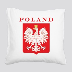 Polish Eagle Red Shield Square Canvas Pillow