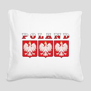 Poland Eagle Shields Square Canvas Pillow