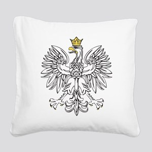 Polish Eagle With Gold Crown Square Canvas Pillow