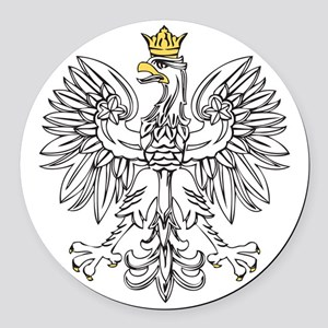 Polish Eagle With Gold Crown Round Car Magnet