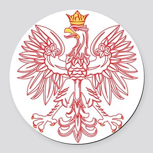 Polish Eagle Outlined In Red Round Car Magnet