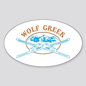 Wolf Creek Crossed-Skis Badge Sticker (Oval)