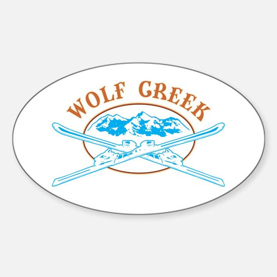 Wolf Creek Crossed-Skis Badge Sticker (Oval)