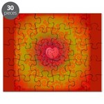 Red and Orange Valentines Heart Fractal Puzzle
